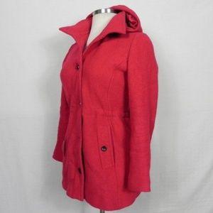 Lands End   Wool Blend Hooded Pink Jacket 6 Lands'